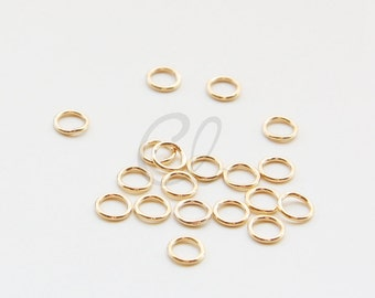 100pcs Gold Plated Brass Base CLOSED Jump Rings- 5.5mm (1208)