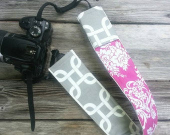 Padded DSLR camera strap cover, reversible padded camera strap cover, slip on strap cover in chains and pink damask