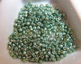 Miyuki size 11/0 Delica, Cylinder Beads, Duracoat Galvanized Sea Green(color DB1845) approx. 7.2 grams