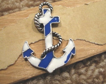 Pewter Antique Silver Enameled  Anchor Pendant