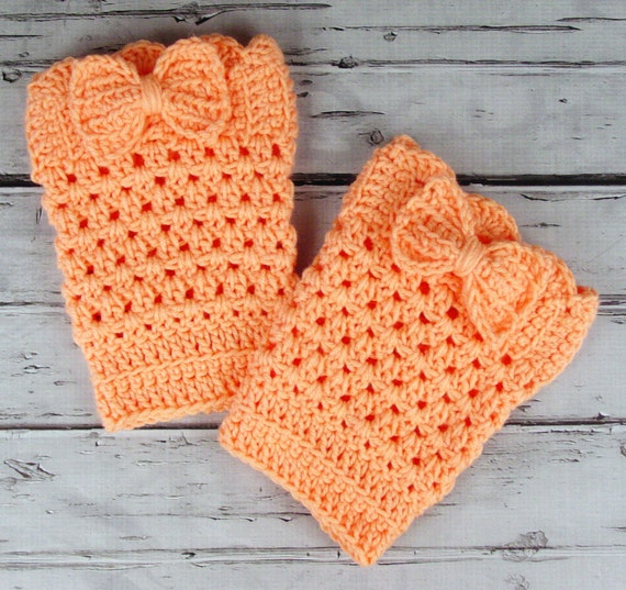 Lovely Pair of Crocheted Dark Peach Tangerine Boot Cuffs with Bows
