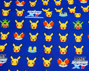 pokemon fabric pikachu 50 cm by 106  cm or 19.6 by 42 inches Printed in Japan ©nintendo ©pokemon