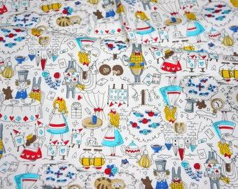 "Alice in Wonderland Fabric Half meter 50  cm x 108 cm or 19.6"" by 42""  nc53"