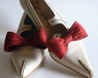 red silk shoe clips - red bridal shoe  - valentine silk bridal clips
