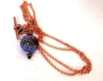 Purple and Copper Limted Edition Lampwork Necklace