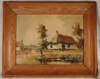 Painting IMPRESSIONISTIC FARMHOUSE  on Canvas Framed  Wood  signed Mariss great condition app 21x17