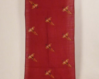 SCARF PHEASANTS WOOL Long mens red maroon Japan signed Harken 53 x 11 inches great condition