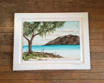 SALE was 125 now 75 island painting on repurposed cabinet door OOAK