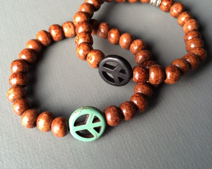 SALE peace mala bracelet, stretch bracelet, wood bracelet, peace sign jewelry, yoga jewelry, yoga bracelet, mens bracelet, wood jewelry