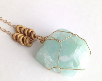 AQUAMARINE, raw, crystal necklace, March birthstone pendant, long necklace, gold plate chain, brass embellishment, one of a kind gemstone