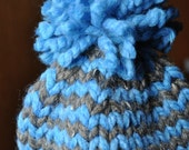 Striped Boy Baby Hat - Newborn Fringe Photo Prop Hat - Knit Boy Photo Prop - Boy Pom Pom Hat - Chunky Knitted Hat - Sky Blue - Cocoa Brown