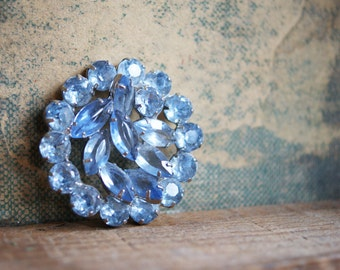 Large Blue Rhinestone  Finding for Repurposing | Brooch Piece | 1960's Jewelry | Marquise Shaped