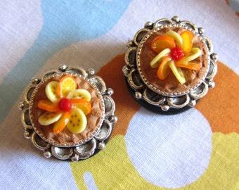 "5/8"" Pie Plugs - Orange Banana Fruit Tarts - Realistic Food Plugs"
