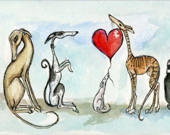 Greyhound Art Dog Print - Large Size