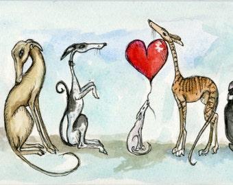 Greyhound Art Dog Print - Small Size