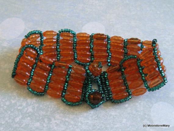 Tribal Beadwoven Bracelet Vintage Orange & Sea Green Boho Gypsy Style