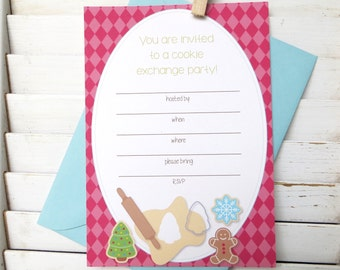 Christmas cookie party invitation, holiday cookie exchange party, cookie swap party invitation, set of 10 fill-in invitations