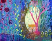 Sunlit Cottage, 20 x 16, Original mixed media canvas painting, wall art, colourful, abstract, landscape, cottage,