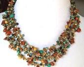 Women beaded jewelry necklace, One of a kind crochet necklace, handmade bib multi strands necklace, boho statement necklace