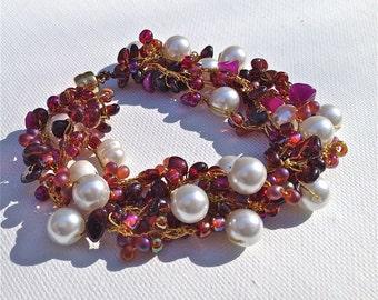 Crochet red bracelet Red Garnet crochet bracelet handmade beaded bracelet statement bracelet, OOAK