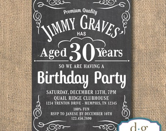 Whiskey Invitation, Whiskey Inspired, Aged to Perfection, Birthday Invitation, 5x7, PRINTABLE
