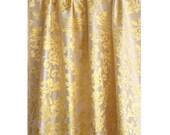 "Yellow Gold Floral Burnout Velvet Curtain 52""x84"" Rod Pocket Curtain Panel Drapes Home Living Bedroom Decor Houseware Bedding Shower Curtain"