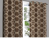 Coffee N Beige Damask Grommet Unlined Curtain in Textured Jacquard Weave Fabric Decor and Housewares Window Treatment Drapes Panels