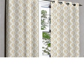 Gemstone Gold Beige Blooms Grommet Unlined Curtain in Textured Jacquard Weave Fabric Decor and Housewares Window Treatment Drapes Panels