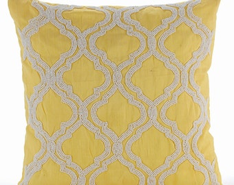 """Handmade Yellow Pillow Covers, 16""""x16"""" Silk Pillows Covers For Couch, Square  Beaded Lattice Trellis Pattern Pillows Cover - Kainoosh"""