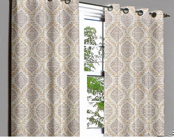 Light Brown N Beige Damask Grommet Lined Curtain in Textured Jacquard Weave Fabric Decor and Housewares Window Treatment Drape Curtain Panel