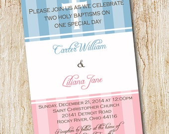 Twin baptism invitation - digital file - Christening  Baby Dedication - Cousins - first communion