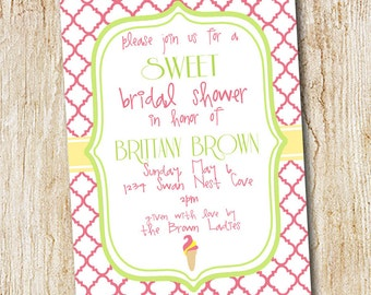 Ice Cream Bridal Shower Invitation - Digital File - Birthday Party Invitation, Sweet party - Dessert Shower