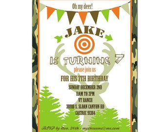 Hunting Party invitation- Hunting Birthday Invitation- Printable Digial File or Printed invitations - Outdoor - Duck - Deer