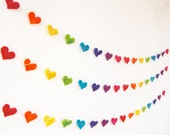 Rainbow Heart Garland - A colourful handmade felt garland in a spectrum of colours