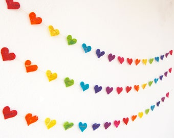 Rainbow Heart Garland - A colourful handmade felt garland in a spectrum of colours
