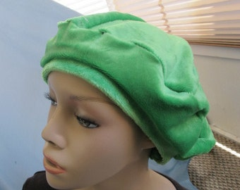 SALE - Bright Green Plush Beret (4389)