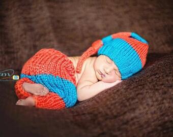 Newborn Knit Knot Hat and Pants Set, Newborn Knit Pants, Newborn Knit Stocking, Newborn Photo Prop