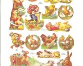 Easter Spring W. German embossed die cuts FULL Sheet c.1990s Chick Duck Lamb Bunny Rooster
