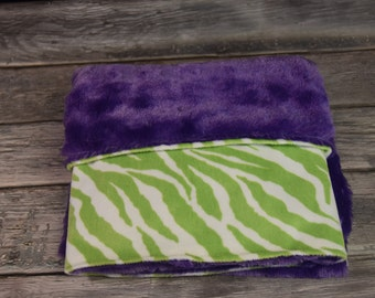 Lime green  white and purple Zebra double minky blanket