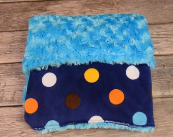 Double Minky Blanket multi dot with turquoise rose minky.