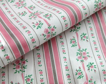 Vintage Cotton Yardage - Small Floral Stripes - Pink Green and Tan