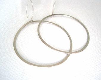 Simple Modern Hoop Earrings - you choose brass or silver