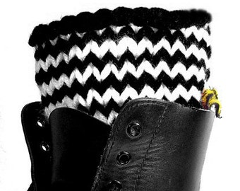 Candycane Chevron Boot Cuffs, Black and White Stripes or Choose your colors