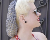 Hair Snood in Platinum Gray Crocheted from Vintage 1940's Design  Retro Pinup