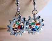 Beaded Dangle Earring Wire Wrapped Hardware Jewelry Multi color Beads Industrial Lock Washer