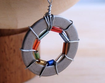 Statement Necklace Pendant Beaded Wire Wrapped Hardware Jewelry Colorful Eco friendly Industrial Hardware