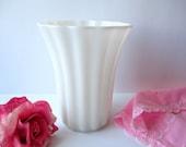 Milk Glass Vase Large Ribbed Flared - Vintage Chic