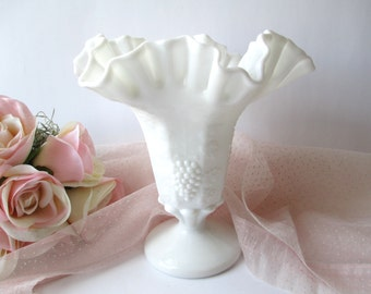 Vintage Milk Glass Vase Large Westmoreland Paneled Grape Crimped and Ruffled