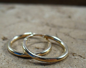 12 Illusions Hoop Earrings Gold Plain 2mm - Conch Hoop Earrings, Gold Hoop Earrings, Small Hoop Earrings, Mens Hoop Earring, Gauged Earring