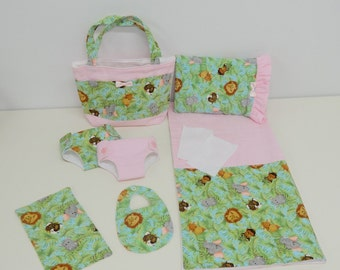 Bitty Baby Basics in Baby Jungle- Diaper Bag and Diapers with Blanket and Pillow